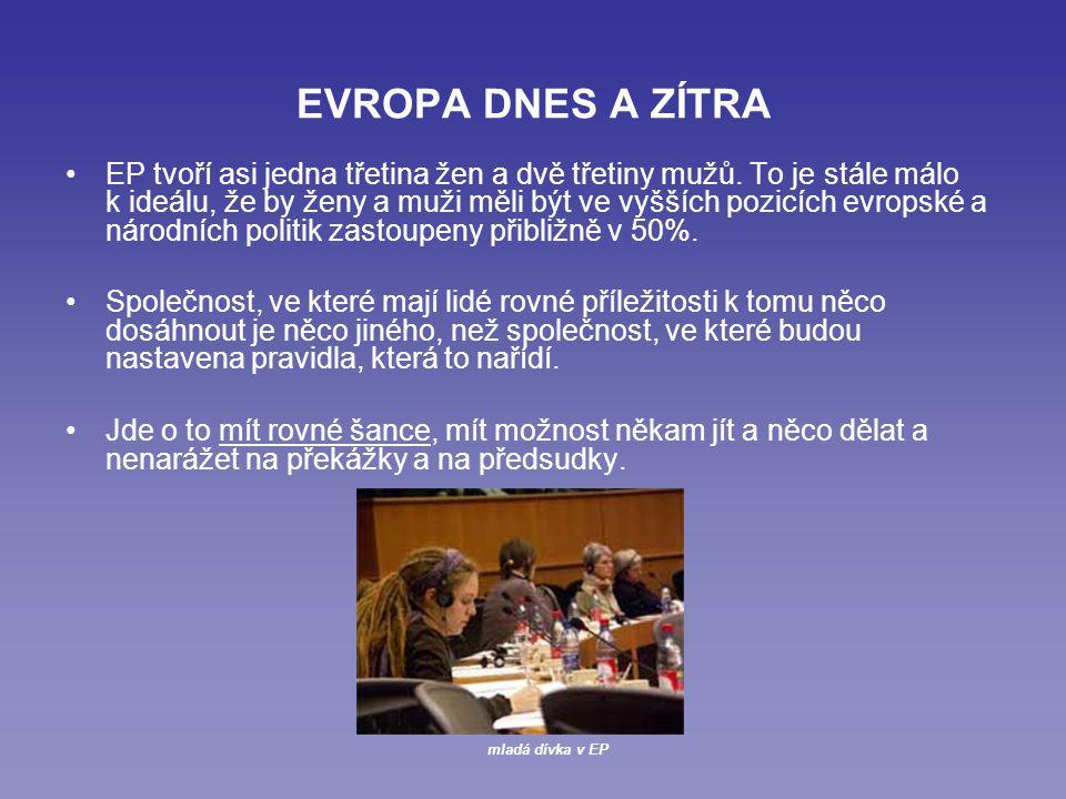 EVROPA DNES A ZÍTRA EP tvoří asi jedna třetina žen a dvě třetiny mužů.
