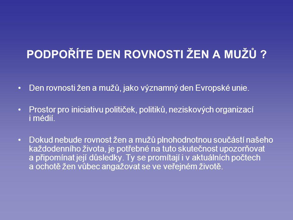 PODPOŘÍTE DEN ROVNOSTI ŽEN A MUŽŮ . Den rovnosti žen a mužů, jako významný den Evropské unie.