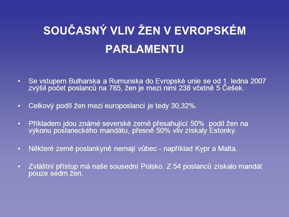 SOUČASNÝ VLIV ŽEN V EVROPSKÉM PARLAMENTU Se vstupem Bulharska a Rumunska do Evropské unie se od 1.