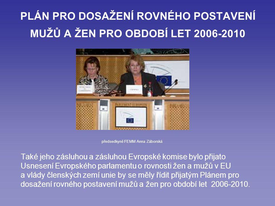 PLÁN PRO DOSAŽENÍ ROVNÉHO POSTAVENÍ MUŽŮ A ŽEN PRO OBDOBÍ LET 2006-2010 Také jeho zásluhou a zásluhou Evropské komise bylo přijato Usnesení Evropského parlamentu o rovnosti žen a mužů v EU a vlády členských zemí unie by se měly řídit přijatým Plánem pro dosažení rovného postavení mužů a žen pro období let 2006-2010.