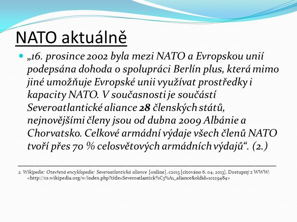 """NATO aktuálně """"16. prosince 2002 byla mezi NATO a Evropskou unií podepsána dohoda o spolupráci Berlín plus, která mimo jiné umožňuje Evropské unii vyu"""
