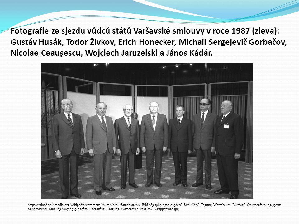 Fotografie ze sjezdu vůdců států Varšavské smlouvy v roce 1987 (zleva): Gustáv Husák, Todor Živkov, Erich Honecker, Michail Sergejevič Gorbačov, Nicol