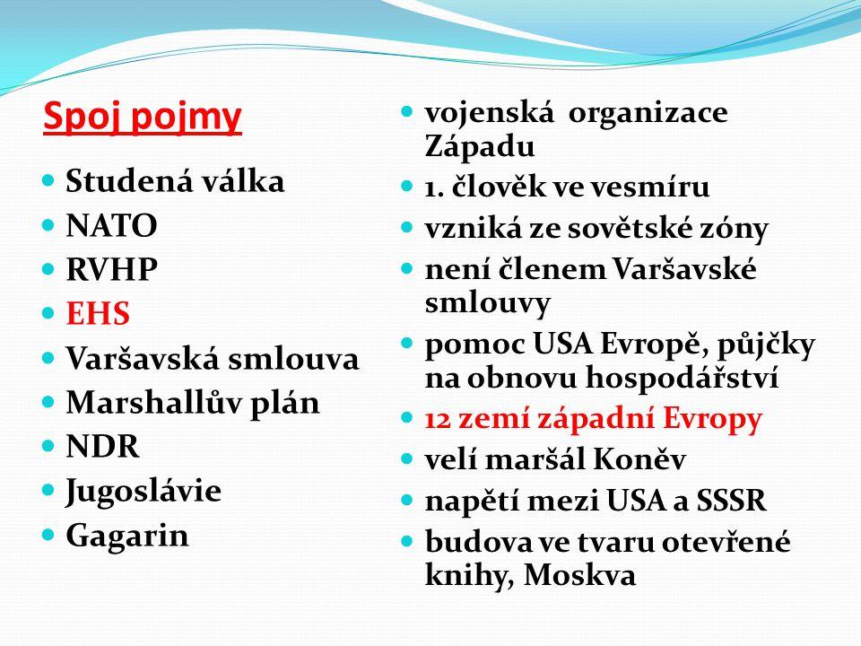 Spoj pojmy Studená válka NATO RVHP EHS Varšavská smlouva Marshallův plán NDR Jugoslávie Gagarin vojenská organizace Západu 1. člověk ve vesmíru vzniká