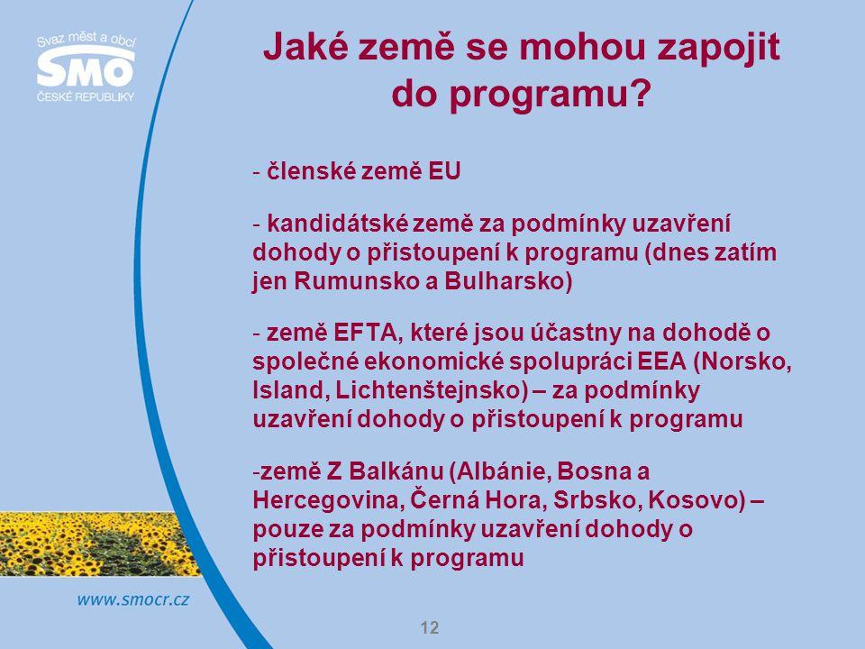12 Jaké země se mohou zapojit do programu? - členské země EU - kandidátské země za podmínky uzavření dohody o přistoupení k programu (dnes zatím jen R