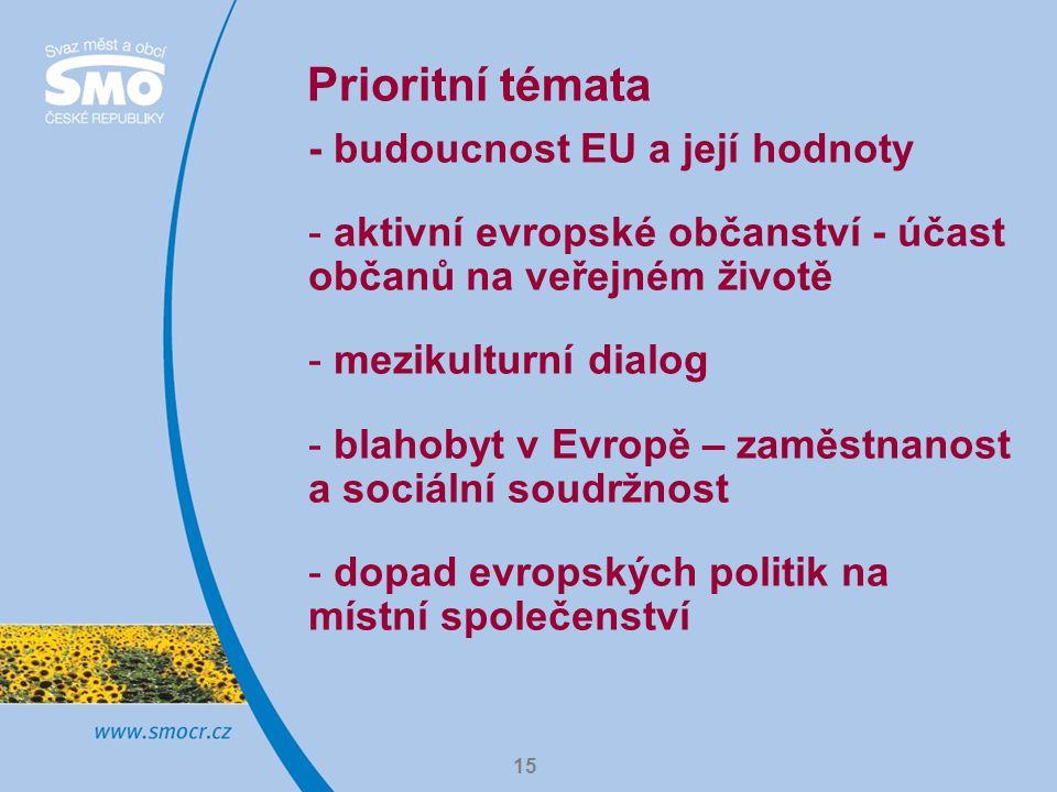 15 Prioritní témata - budoucnost EU a její hodnoty - aktivní evropské občanství - účast občanů na veřejném životě - mezikulturní dialog - blahobyt v E