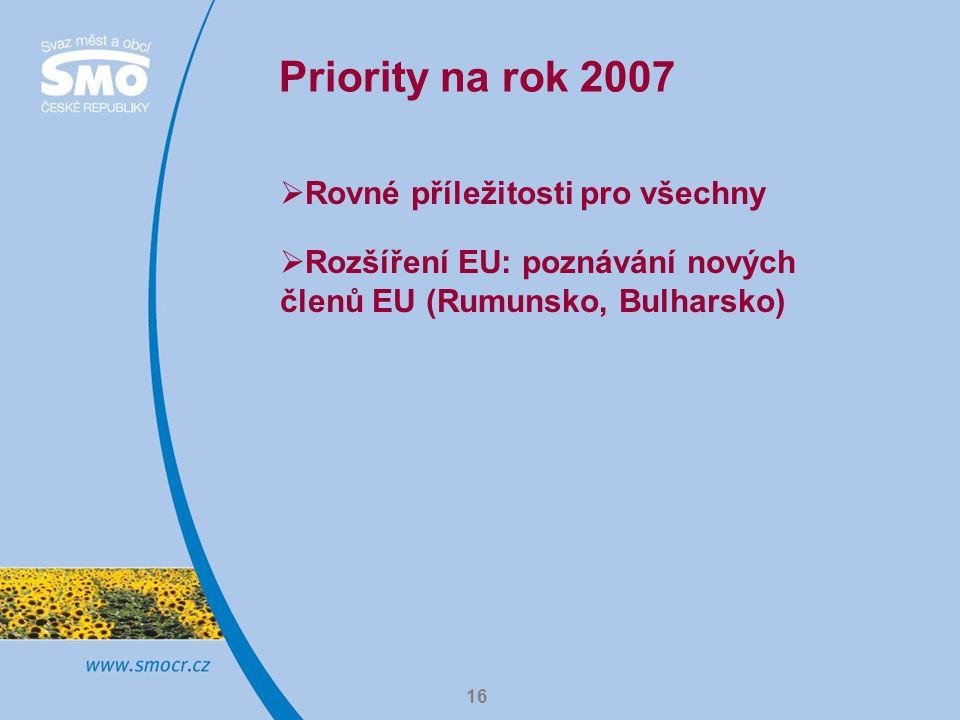 16 Priority na rok 2007  Rovné příležitosti pro všechny  Rozšíření EU: poznávání nových členů EU (Rumunsko, Bulharsko)