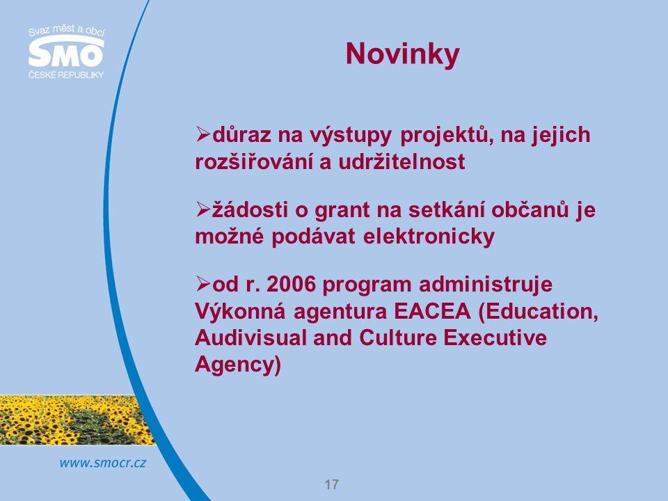 17 Novinky  důraz na výstupy projektů, na jejich rozšiřování a udržitelnost  žádosti o grant na setkání občanů je možné podávat elektronicky  od r.