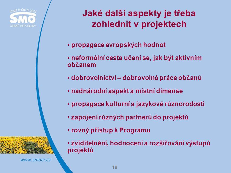 18 Jaké další aspekty je třeba zohlednit v projektech propagace evropských hodnot neformální cesta učení se, jak být aktivním občanem dobrovolnictví –