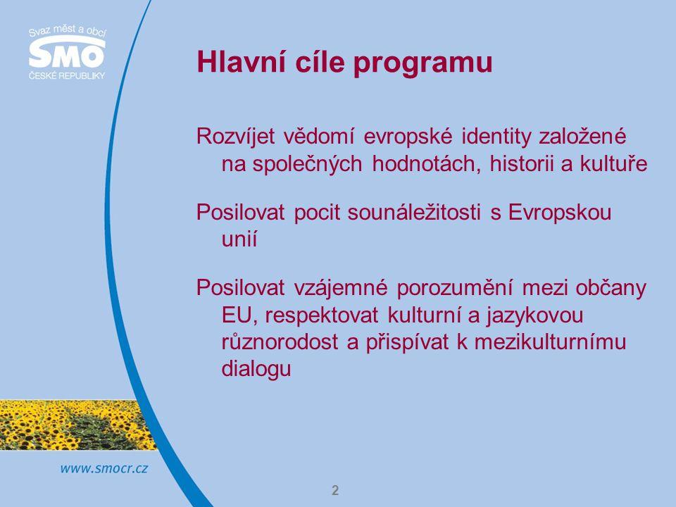 3 Hlavní cíle programu Dát občanům EU příležitost účastnit se budování společnosti, která je založena na demokratických hodnotách, jednotná, jejím bohatstvím je kulturní různorodost Rozvíjet občanství Evropské unie
