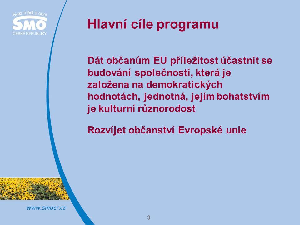 4 Komu je program určen  Místní správě a samosprávě  Evropským organizacím, které se zabývají výzkumem veřejné politiky (think – tanks)  Občanským iniciativám  Neziskovým organizacím  Odborovým organizacím  Vzdělávacím institucím  Dobrovolnickým centrům  Amatérským sportovním klubům Cílovou skupinou programu jsou občané.