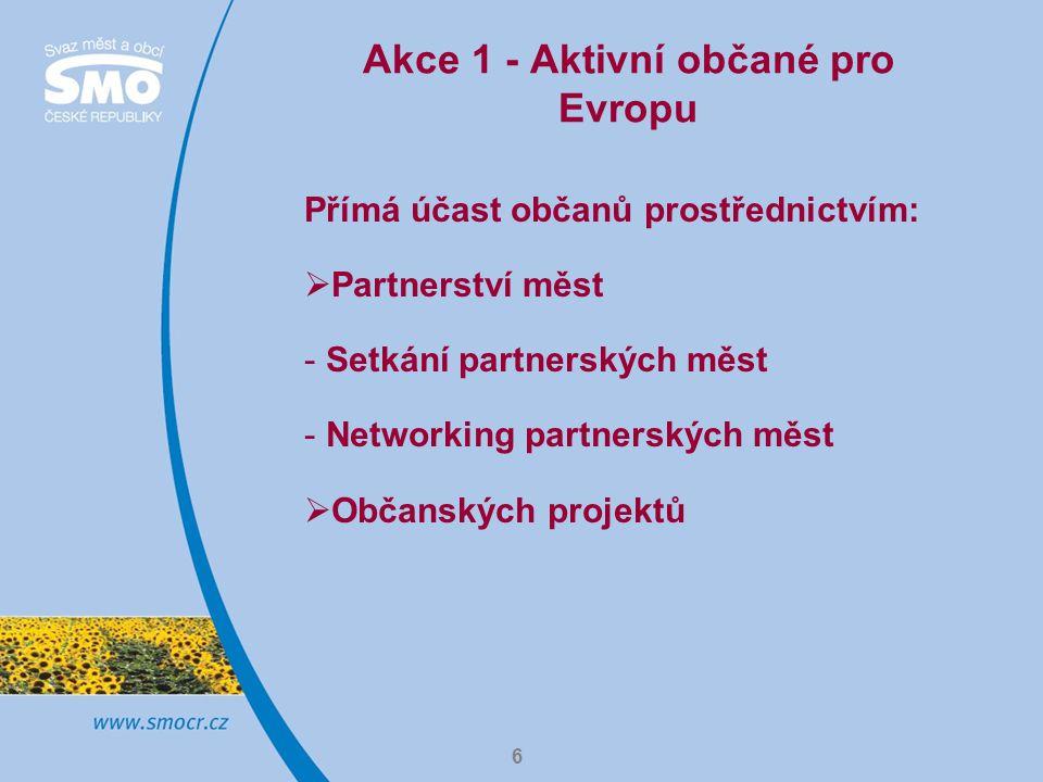 6 Akce 1 - Aktivní občané pro Evropu Přímá účast občanů prostřednictvím:  Partnerství měst - Setkání partnerských měst - Networking partnerských měst