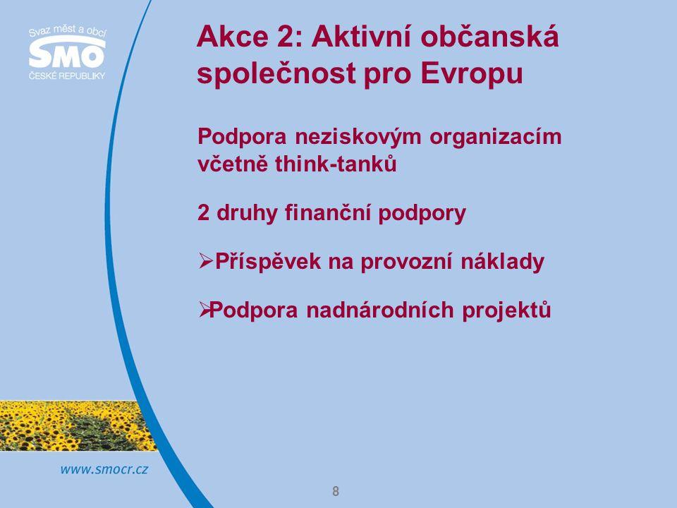 8 Akce 2: Aktivní občanská společnost pro Evropu Podpora neziskovým organizacím včetně think-tanků 2 druhy finanční podpory  Příspěvek na provozní ná