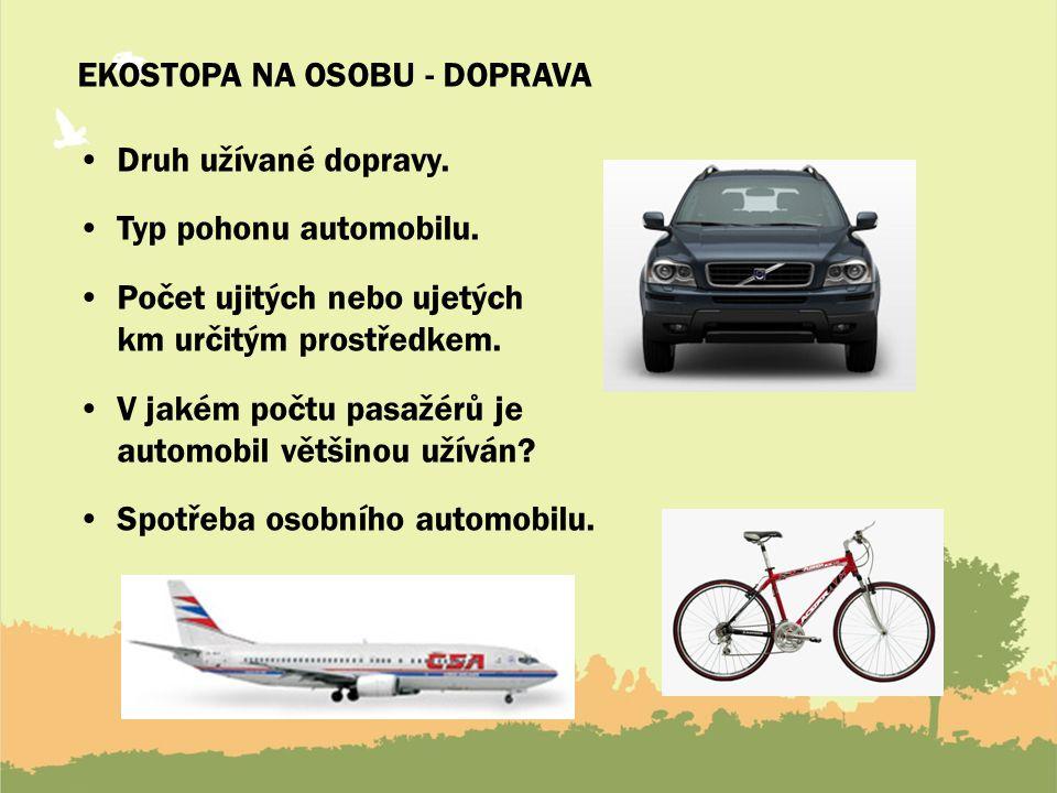EKOSTOPA NA OSOBU - DOPRAVA Druh užívané dopravy.Typ pohonu automobilu.