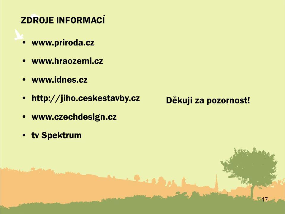 17 ZDROJE INFORMACÍ www.priroda.cz www.hraozemi.cz www.idnes.cz http://jiho.ceskestavby.cz www.czechdesign.cz tv Spektrum Děkuji za pozornost!