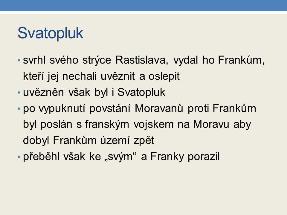 Svatopluk svrhl svého strýce Rastislava, vydal ho Frankům, kteří jej nechali uvěznit a oslepit uvězněn však byl i Svatopluk po vypuknutí povstání Mora
