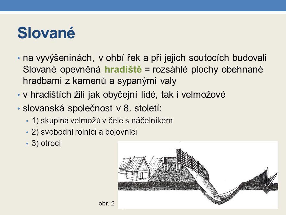 Slované na vyvýšeninách, v ohbí řek a při jejich soutocích budovali Slované opevněná hradiště = rozsáhlé plochy obehnané hradbami z kamenů a sypanými