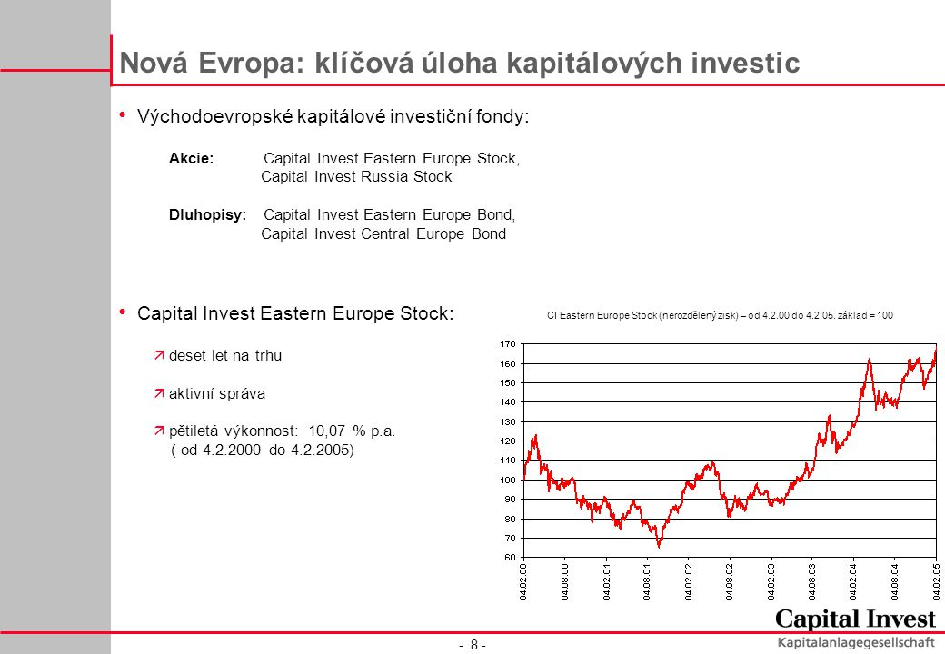 - 8 - Nová Evropa: klíčová úloha kapitálových investic Východoevropské kapitálové investiční fondy: Akcie:Capital Invest Eastern Europe Stock, Capital Invest Russia Stock Dluhopisy:Capital Invest Eastern Europe Bond, Capital Invest Central Europe Bond Capital Invest Eastern Europe Stock: ädeset let na trhu äaktivní správa äpětiletá výkonnost: 10,07 % p.a.