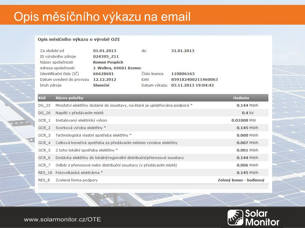 Opis měsíčního výkazu na email