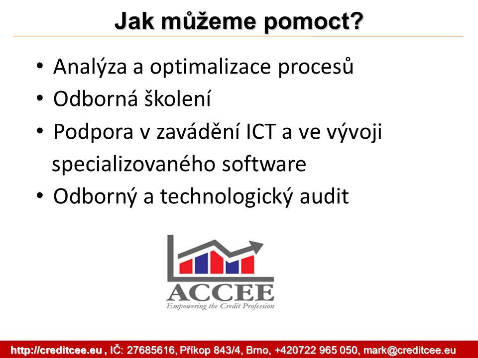 Jak můžeme pomoct? Analýza a optimalizace procesů Odborná školení Podpora v zavádění ICT a ve vývoji specializovaného software Odborný a technologický