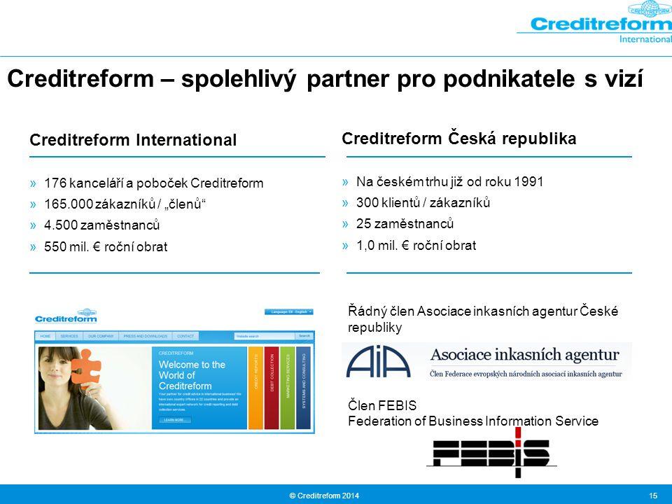 © Creditreform 2014 15 Creditreform – spolehlivý partner pro podnikatele s vizí Creditreform Česká republika »Na českém trhu již od roku 1991 »300 klientů / zákazníků »25 zaměstnanců »1,0 mil.