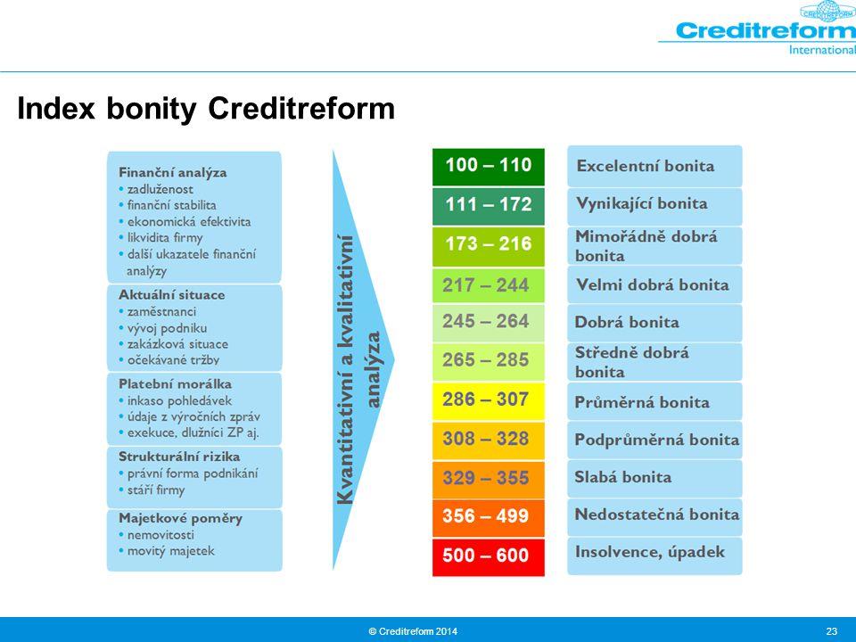© Creditreform 2014 23 Index bonity Creditreform