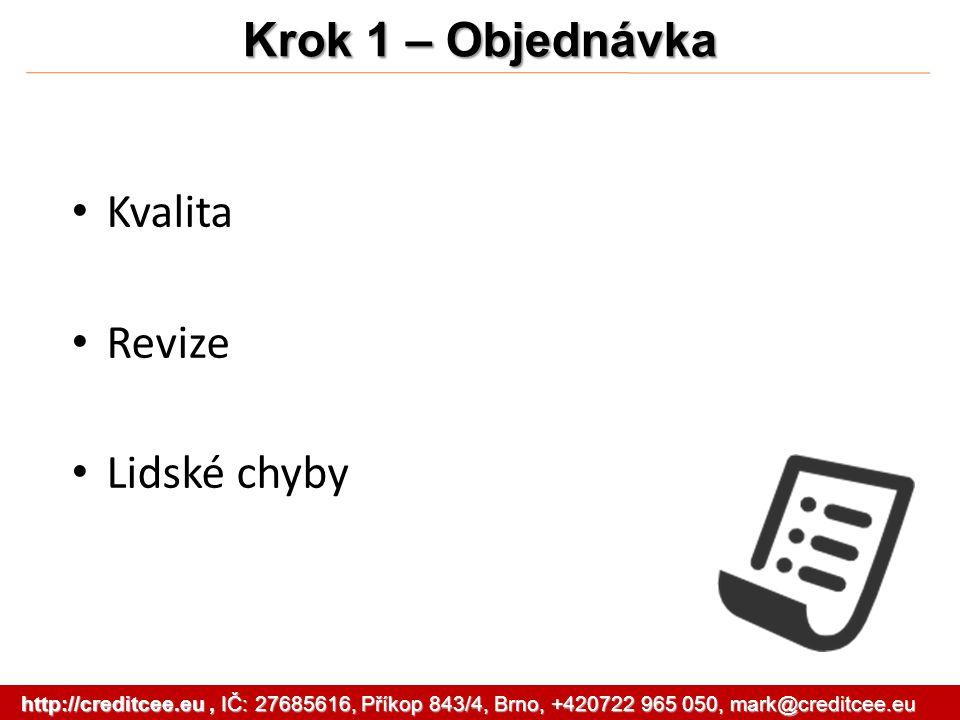 Kvalita Revize Lidské chyby Krok 1 – Objednávka http://creditcee.eu, IČ: 27685616, Příkop 843/4, Brno, +420722 965 050, mark@creditcee.eu