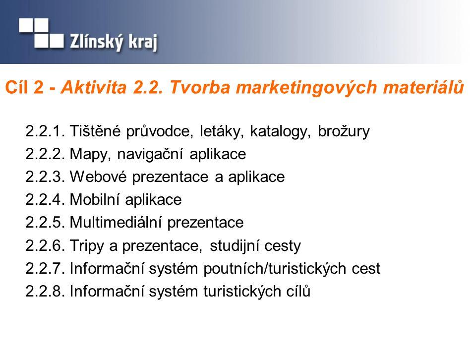 Cíl 2 - Aktivita 2.2. Tvorba marketingových materiálů 2.2.1.