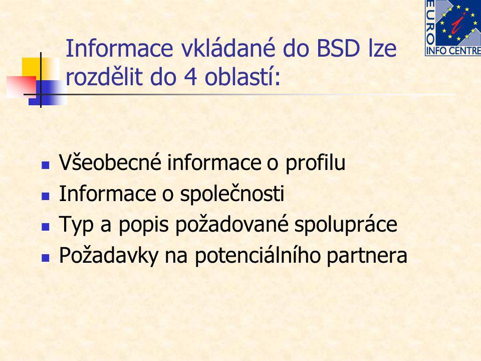 Informace vkládané do BSD lze rozdělit do 4 oblastí: Všeobecné informace o profilu Informace o společnosti Typ a popis požadované spolupráce Požadavky na potenciálního partnera