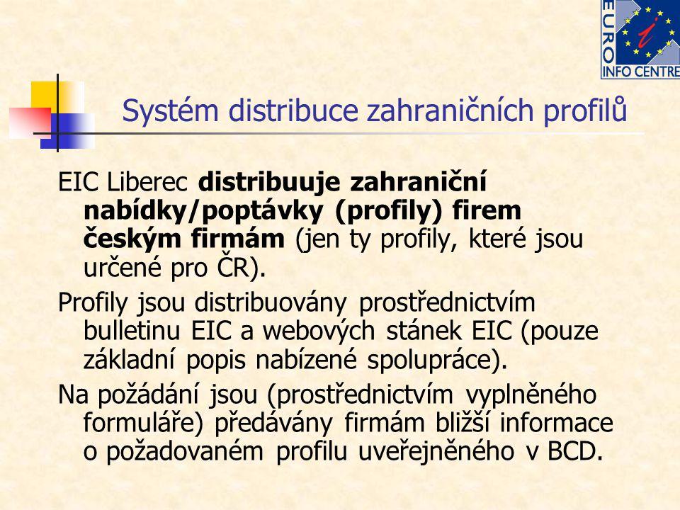 Systém distribuce zahraničních profilů EIC Liberec distribuuje zahraniční nabídky/poptávky (profily) firem českým firmám (jen ty profily, které jsou u