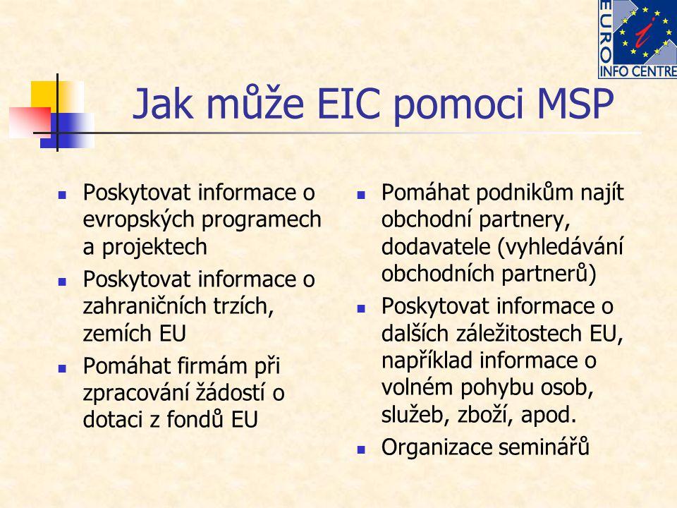 Jak může EIC pomoci MSP Poskytovat informace o evropských programech a projektech Poskytovat informace o zahraničních trzích, zemích EU Pomáhat firmám