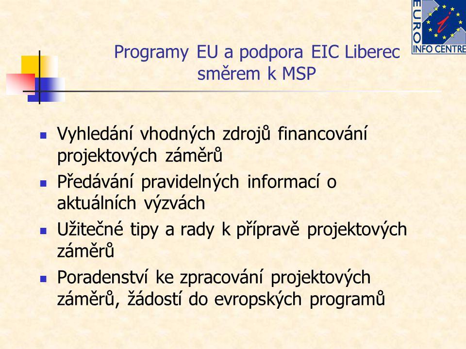 Programy EU a podpora EIC Liberec směrem k MSP Vyhledání vhodných zdrojů financování projektových záměrů Předávání pravidelných informací o aktuálních výzvách Užitečné tipy a rady k přípravě projektových záměrů Poradenství ke zpracování projektových záměrů, žádostí do evropských programů