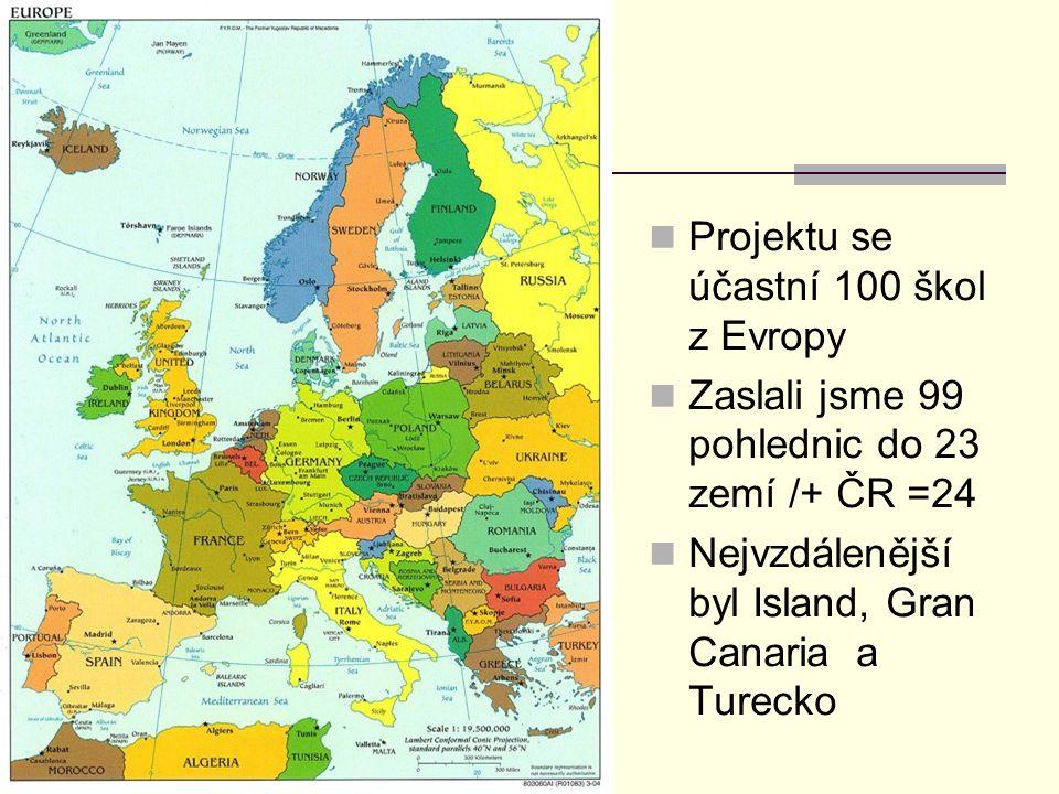 Projektu se účastní 100 škol z Evropy Zaslali jsme 99 pohlednic do 23 zemí /+ ČR =24 Nejvzdálenější byl Island, Gran Canaria a Turecko