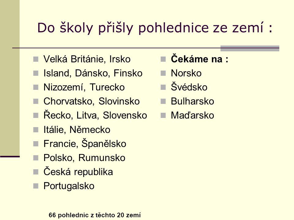 Do školy přišly pohlednice ze zemí : Velká Británie, Irsko Island, Dánsko, Finsko Nizozemí, Turecko Chorvatsko, Slovinsko Řecko, Litva, Slovensko Itálie, Německo Francie, Španělsko Polsko, Rumunsko Česká republika Portugalsko 66 pohlednic z těchto 20 zemí Čekáme na : Norsko Švédsko Bulharsko Maďarsko
