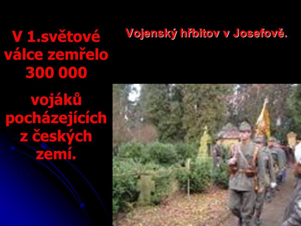 Vojenský hřbitov v Josefově. V 1.světové válce zemřelo 300 000 vojáků pocházejících z českých zemí.