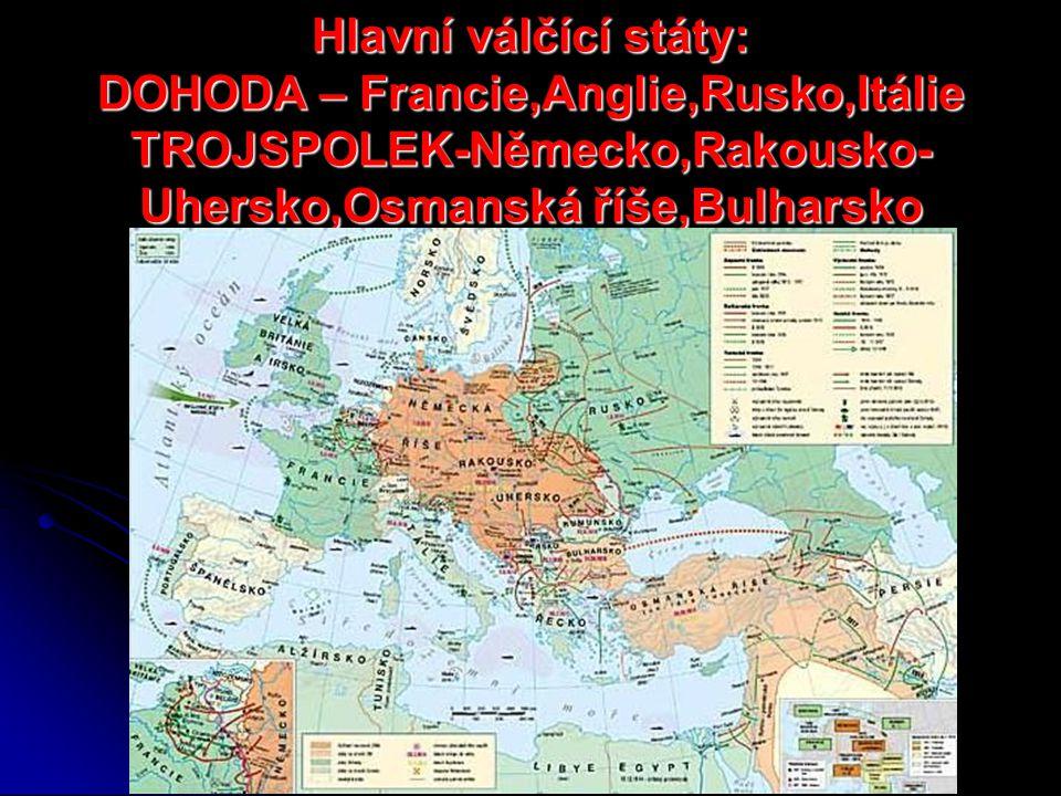 Hlavní válčící státy: DOHODA – Francie,Anglie,Rusko,Itálie TROJSPOLEK-Německo,Rakousko- Uhersko,Osmanská říše,Bulharsko