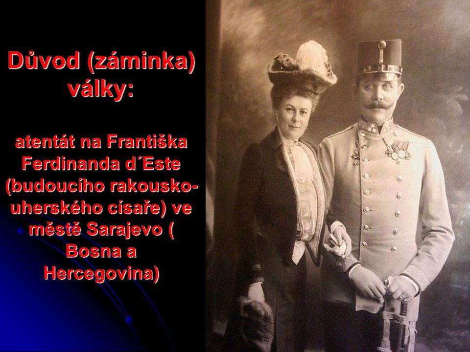 Důvod (záminka) války: atentát na Františka Ferdinanda d´Este (budoucího rakousko- uherského císaře) ve městě Sarajevo ( Bosna a Hercegovina)