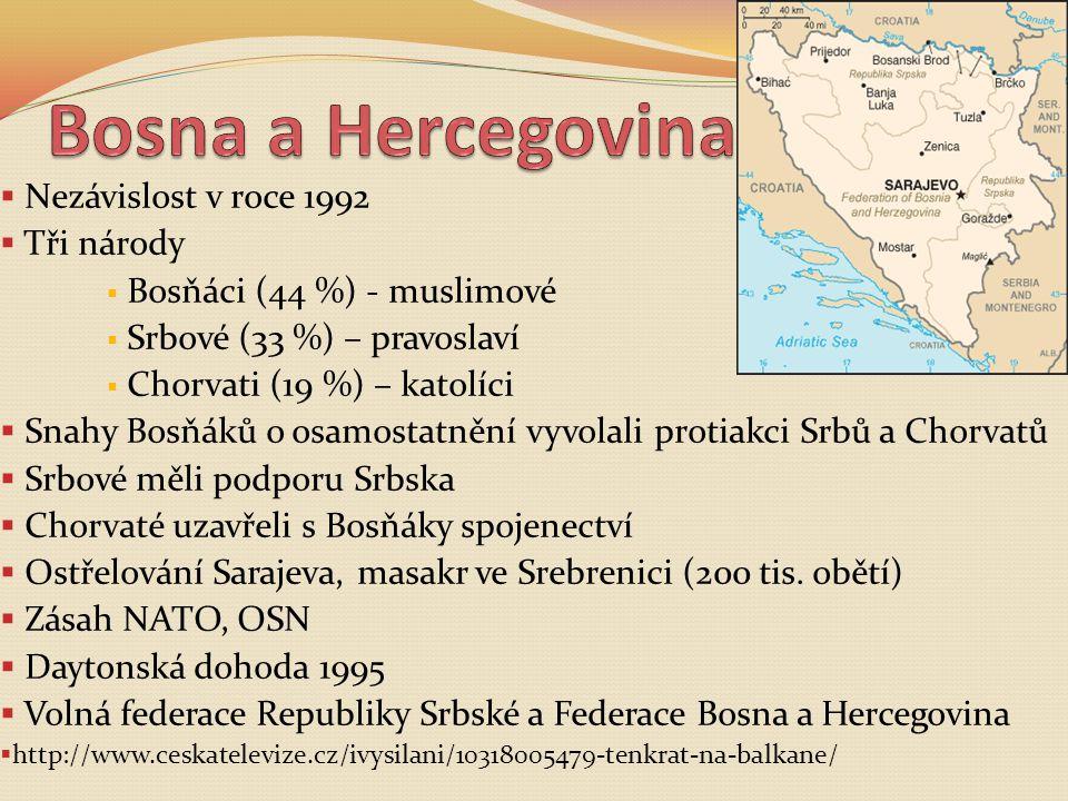  Nezávislost v roce 1992  Tři národy  Bosňáci (44 %) - muslimové  Srbové (33 %) – pravoslaví  Chorvati (19 %) – katolíci  Snahy Bosňáků o osamos