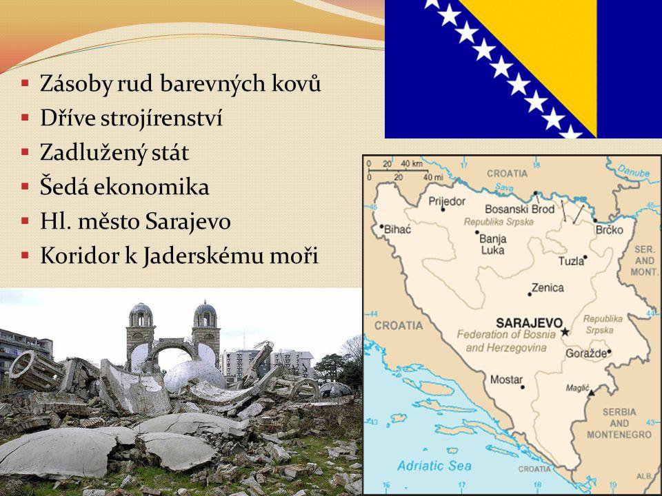  Zásoby rud barevných kovů  Dříve strojírenství  Zadlužený stát  Šedá ekonomika  Hl. město Sarajevo  Koridor k Jaderskému moři
