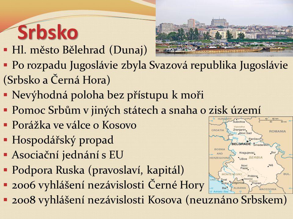 Srbsko  Hl. město Bělehrad (Dunaj)  Po rozpadu Jugoslávie zbyla Svazová republika Jugoslávie (Srbsko a Černá Hora)  Nevýhodná poloha bez přístupu k