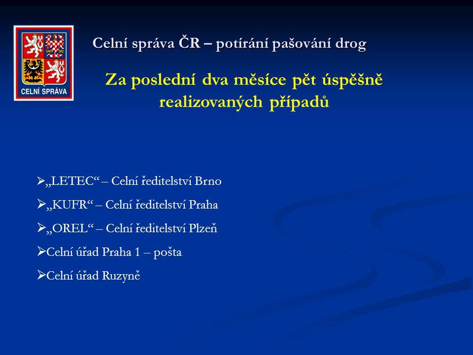 """Celní správa ČR – potírání pašování drog Za poslední dva měsíce pět úspěšně realizovaných případů  """"LETEC"""" – Celní ředitelství Brno  """"KUFR"""" – Celní"""