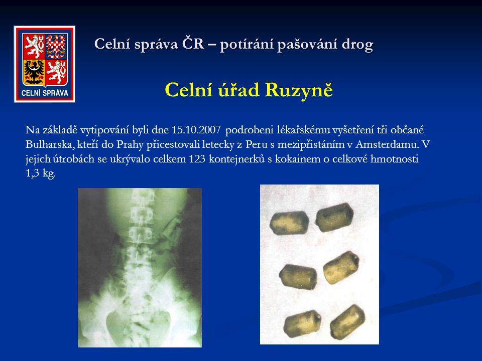 Celní správa ČR – potírání pašování drog Celní úřad Ruzyně Na základě vytipování byli dne 15.10.2007 podrobeni lékařskému vyšetření tři občané Bulhars