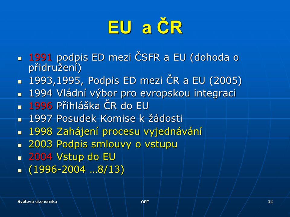 Světová ekonomika OPF 12 1991 podpis ED mezi ČSFR a EU (dohoda o přidružení) 1991 podpis ED mezi ČSFR a EU (dohoda o přidružení) 1993,1995, Podpis ED
