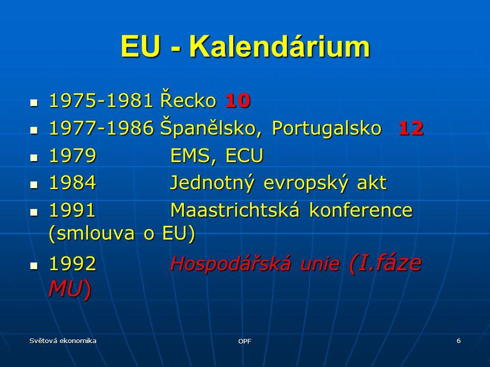 Světová ekonomika OPF 6 1975-1981 Řecko 10 1975-1981 Řecko 10 1977-1986 Španělsko, Portugalsko 12 1977-1986 Španělsko, Portugalsko 12 1979 EMS, ECU 1979 EMS, ECU 1984 Jednotný evropský akt 1984 Jednotný evropský akt 1991 Maastrichtská konference (smlouva o EU) 1991 Maastrichtská konference (smlouva o EU) 1992 Hospodářská unie (I.fáze MU) 1992 Hospodářská unie (I.fáze MU) EU - Kalendárium