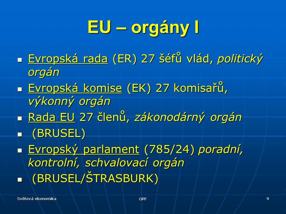 Světová ekonomika OPF 9 Evropská rada (ER) 27 šéfů vlád, politický orgán Evropská rada (ER) 27 šéfů vlád, politický orgán Evropská komise (EK) 27 komisařů, výkonný orgán Evropská komise (EK) 27 komisařů, výkonný orgán Rada EU 27 členů, zákonodárný orgán Rada EU 27 členů, zákonodárný orgán (BRUSEL) (BRUSEL) Evropský parlament (785/24) poradní, kontrolní, schvalovací orgán Evropský parlament (785/24) poradní, kontrolní, schvalovací orgán (BRUSEL/ŠTRASBURK) (BRUSEL/ŠTRASBURK) EU – orgány I