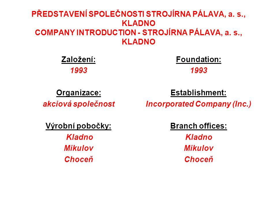 PŘEDSTAVENÍ SPOLEČNOSTI STROJÍRNA PÁLAVA, a. s., KLADNO COMPANY INTRODUCTION - STROJÍRNA PÁLAVA, a. s., KLADNO Založení: 1993 Organizace: akciová spol