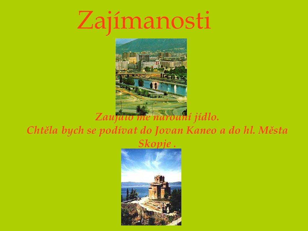 Zajímanosti Zaujalo mě národní jídlo. Chtěla bych se podívat do Jovan Kaneo a do hl. Města Skopje.