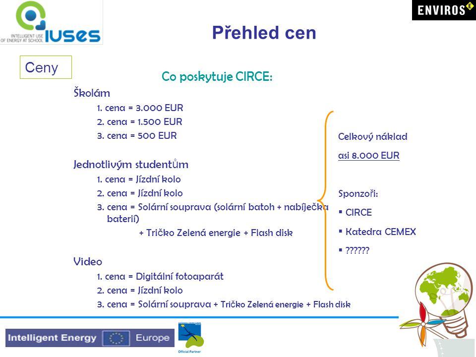 Přehled cen Co poskytuje CIRCE: Školám 1. cena = 3.000 EUR 2.
