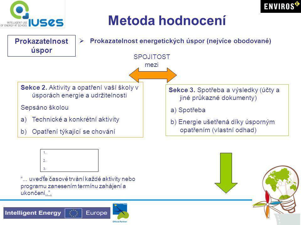 Metoda hodnocení Prokazatelnost úspor  Prokazatelnost energetických úspor (nejvíce obodované) Sekce 3.