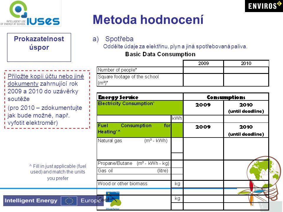 Metoda hodnocení Prokazatelnost úspor a) Spotřeba Oddělte údaje za elektřinu, plyn a jiná spotřebovaná paliva.