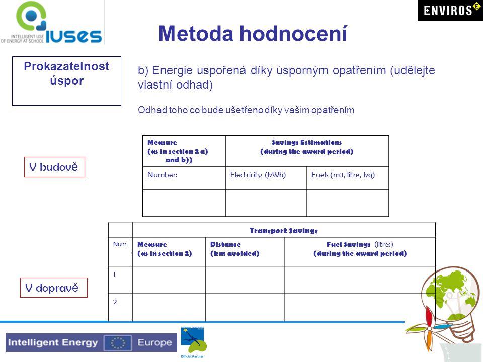 Metoda hodnocení Prokazatelnost úspor b) Energie uspořená díky úsporným opatřením (udělejte vlastní odhad) Odhad toho co bude ušetřeno díky vašim opat